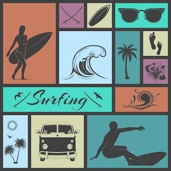 Conjunto de ícones de surf.