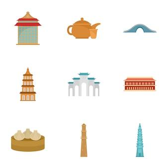 Conjunto de ícones de taipei, estilo simples