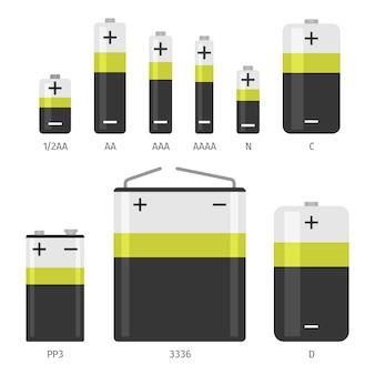 Conjunto de ícones de tamanhos diferentes de bateria alcalina