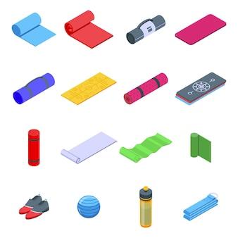 Conjunto de ícones de tapete de ioga. conjunto isométrico de ícones de tapete de ioga para web