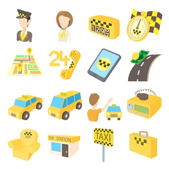 Conjunto de ícones de táxi em estilo cartoon, isolado no fundo branco