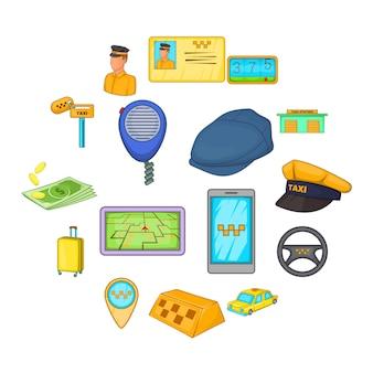 Conjunto de ícones de táxi, estilo cartoon