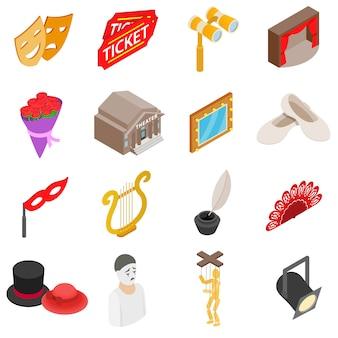Conjunto de ícones de teatro em estilo 3d isométrico isolado no fundo branco