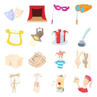 Conjunto de ícones de teatro em estilo cartoon