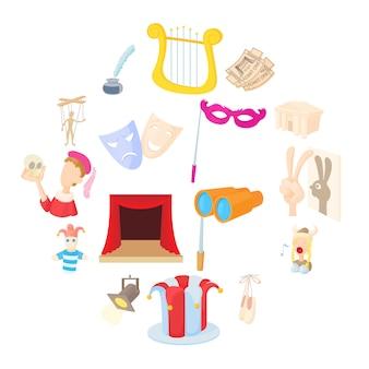 Conjunto de ícones de teatro, estilo cartoon