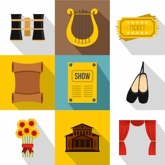 Conjunto de ícones de teatro, estilo simples