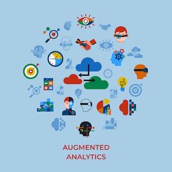Conjunto de ícones de tecnologia de análise e inovação aumentada