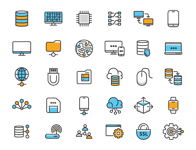 Conjunto de ícones de tecnologia de computador linear ícones de banco de dados