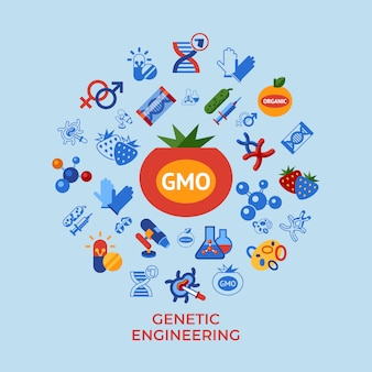 Conjunto de ícones de tecnologia de engenharia genética ogm