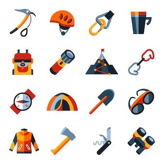 Conjunto de ícones de tecnologia de montanhismo