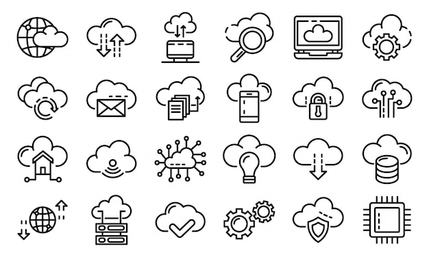 Conjunto de ícones de tecnologia de nuvem, estilo de estrutura de tópicos