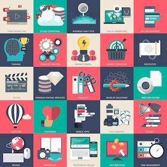 Conjunto de ícones de tecnologia e finanças