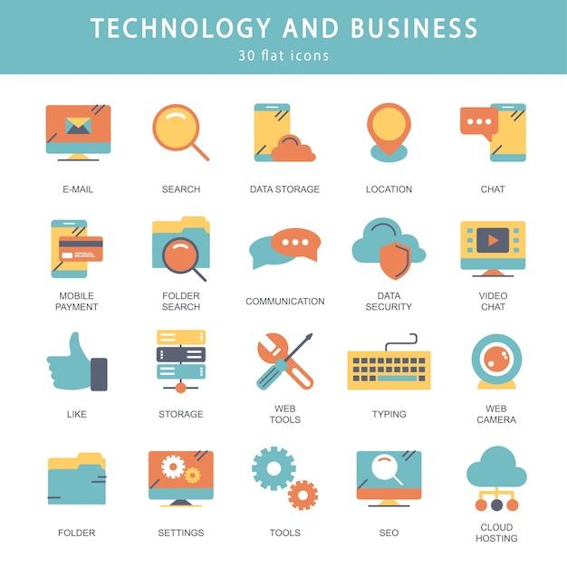 Conjunto de ícones de tecnologia e negócios