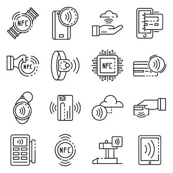 Conjunto de ícones de tecnologia nfc, estilo de estrutura de tópicos