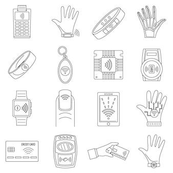 Conjunto de ícones de tecnologia nfc inteligente