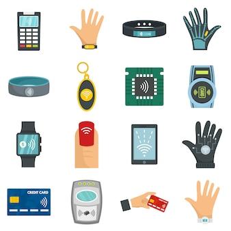 Conjunto de ícones de tecnologia nfc
