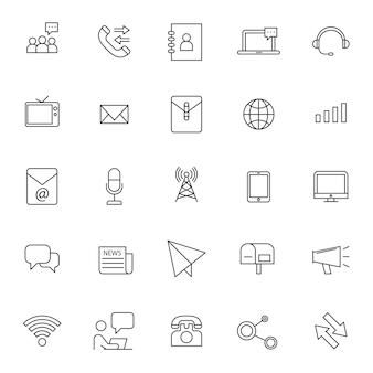 Conjunto de ícones de telecomunicação de telefone com contorno simples