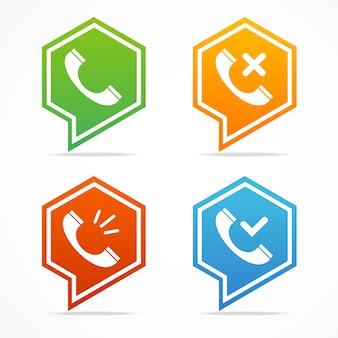 Conjunto de ícones de telefone para site ou aplicativo. ilustração vetorial
