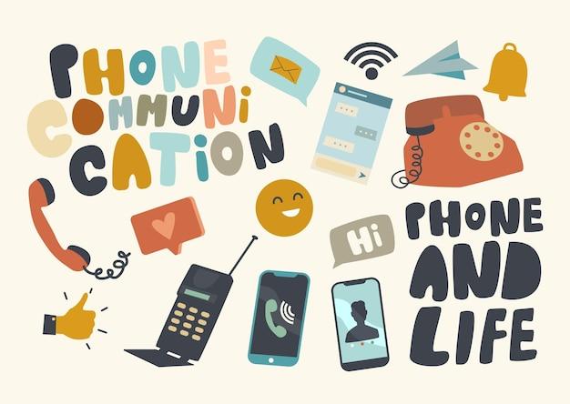 Conjunto de ícones de tema de comunicação por telefone