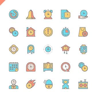 Conjunto de ícones de tempo de linha plana