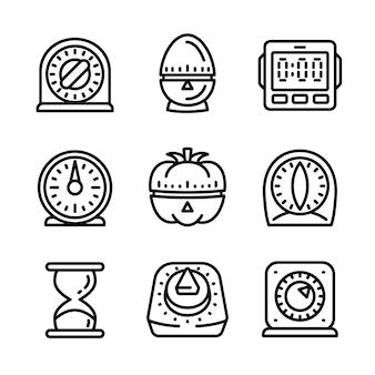 Conjunto de ícones de temporizador de cozinha, estilo de estrutura de tópicos