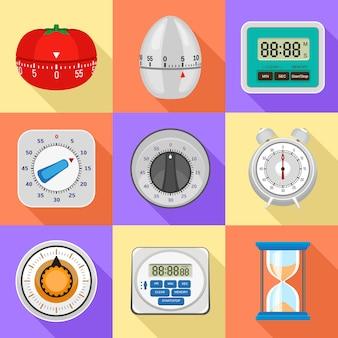 Conjunto de ícones de temporizador de cozinha