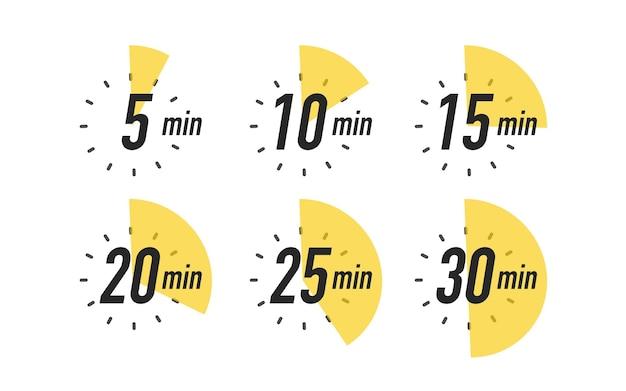 Conjunto de ícones de temporizador isolado no fundo branco cronômetro de relógio tempo de cozimento rótulo vetor eps