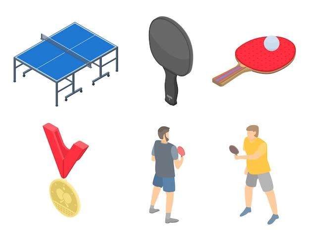 Conjunto de ícones de tênis de mesa, estilo isométrico