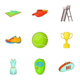 Conjunto de ícones de tênis, estilo cartoon