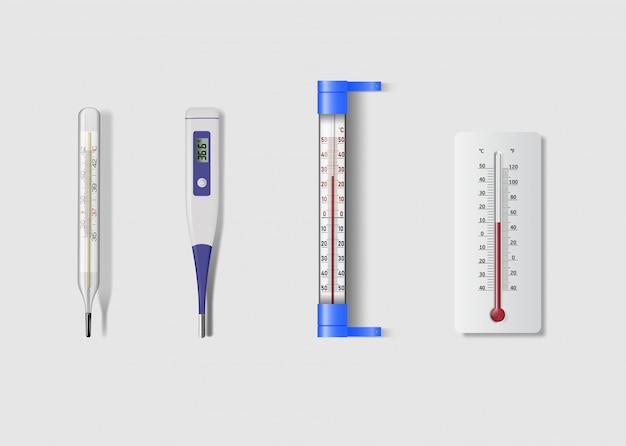 Conjunto de ícones de termômetro realista isolado no fundo branco.