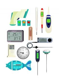 Conjunto de ícones de termômetro