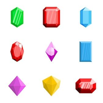 Conjunto de ícones de tesouro, estilo simples