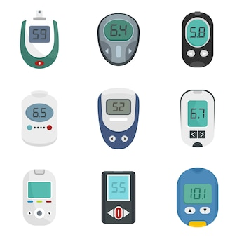 Conjunto de ícones de teste de açúcar de medidor de glicose