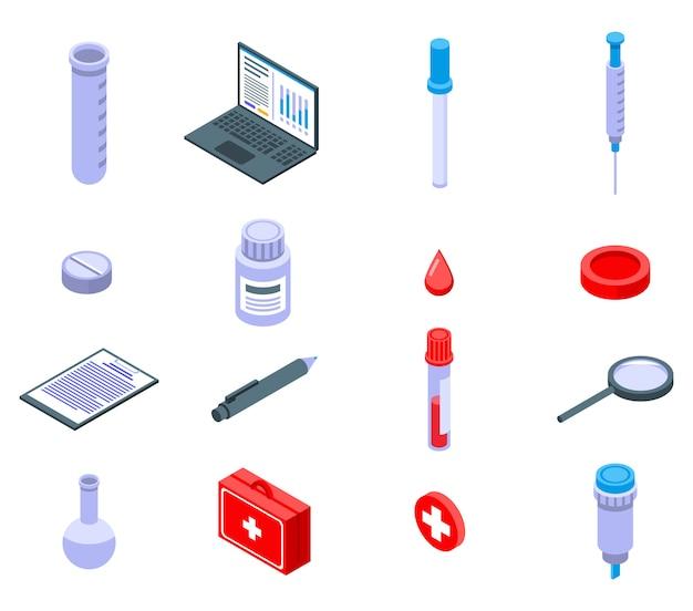 Conjunto de ícones de teste de sangue, estilo isométrico