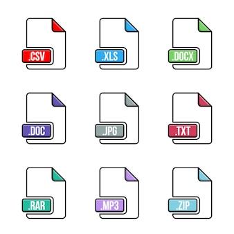 Conjunto de ícones de tipo de arquivo. documente formatos de multimídia.