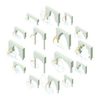 Conjunto de ícones de tipos de arco, estilo isométrico