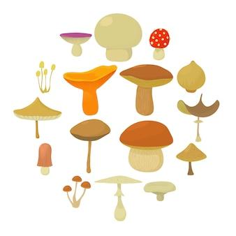 Conjunto de ícones de tipos de cogumelos, estilo cartoon