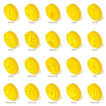 Conjunto de ícones de tipos de criptomoeda. ilustração isométrica de 25 tipos de criptomoeda vetor ícones para web