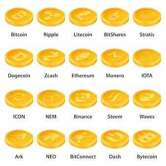 Conjunto de ícones de tipos de criptomoeda