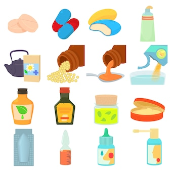 Conjunto de ícones de tipos de drogas