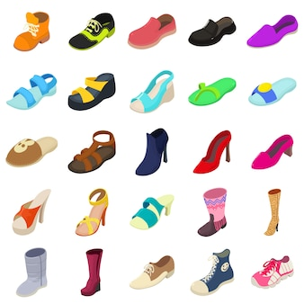 Conjunto de ícones de tipos de moda de sapatos. ilustração isométrica de 25 tipos de moda de sapatos ícones de vetor para web