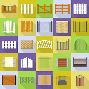 Conjunto de ícones de tipos de país de esgrima. ilustração plana de 25 ícones de tipos de vila de esgrima para web