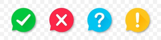 Conjunto de ícones de tique, cruz, ponto de interrogação e ponto de exclamação com sombra longa