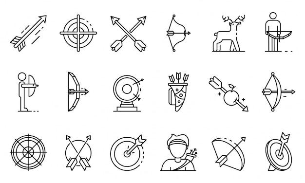 Conjunto de ícones de tiro com arco, estilo de estrutura de tópicos