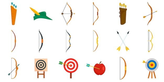 Conjunto de ícones de tiro com arco