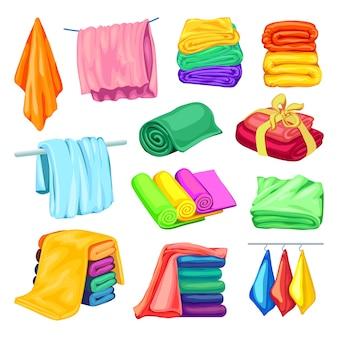 Conjunto de ícones de toalha, estilo cartoon