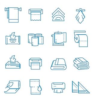 Conjunto de ícones de toalhas e guardanapos com estilo de estrutura de tópicos