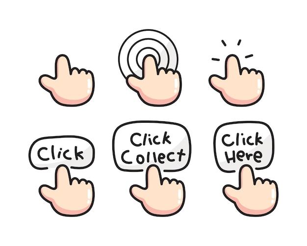 Conjunto de ícones de toque desenhados à mão.