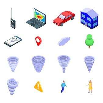 Conjunto de ícones de tornado, estilo isométrico