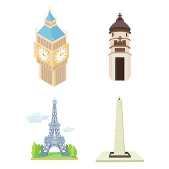 Conjunto de ícones de torre histórica